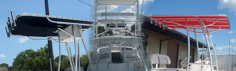 T Tops, custom T Tops, T Tops for boats, T Tops for skiffs, Florida T Tops, poling platform, boat platforms, fishing boat towers, marine radar arches